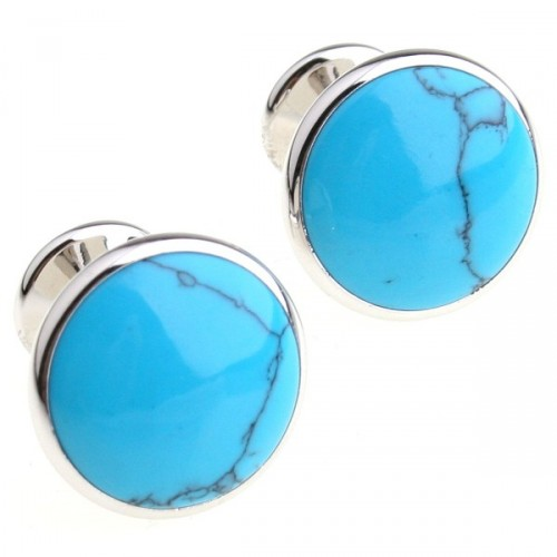 wrap cufflinks Antique Kennedy Times Mirror Blue Turquoise Stone Round Cufflinks