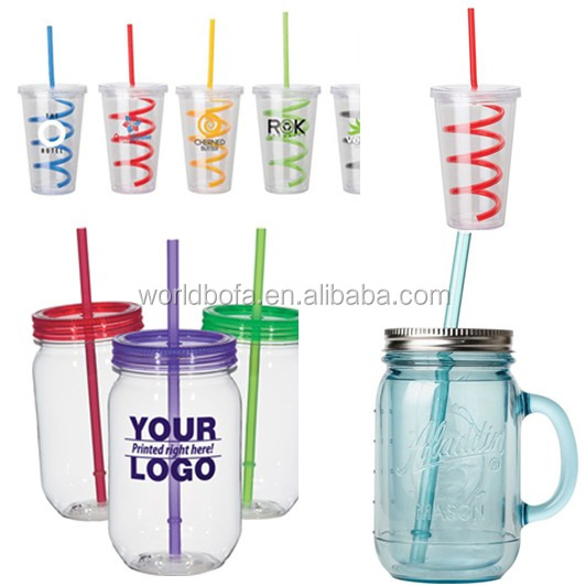 Customized plastic double walled tumbler cups with straw