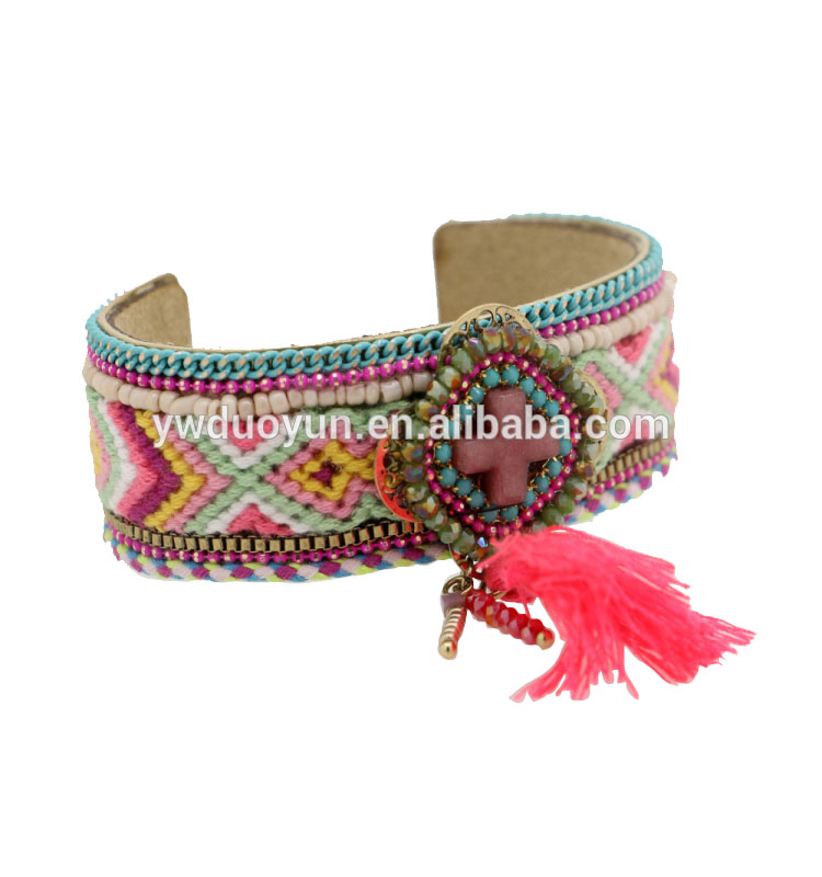 2016 trending products Indian Style cotton Thread Braided Wide Band Bangles Vintage Bracelet