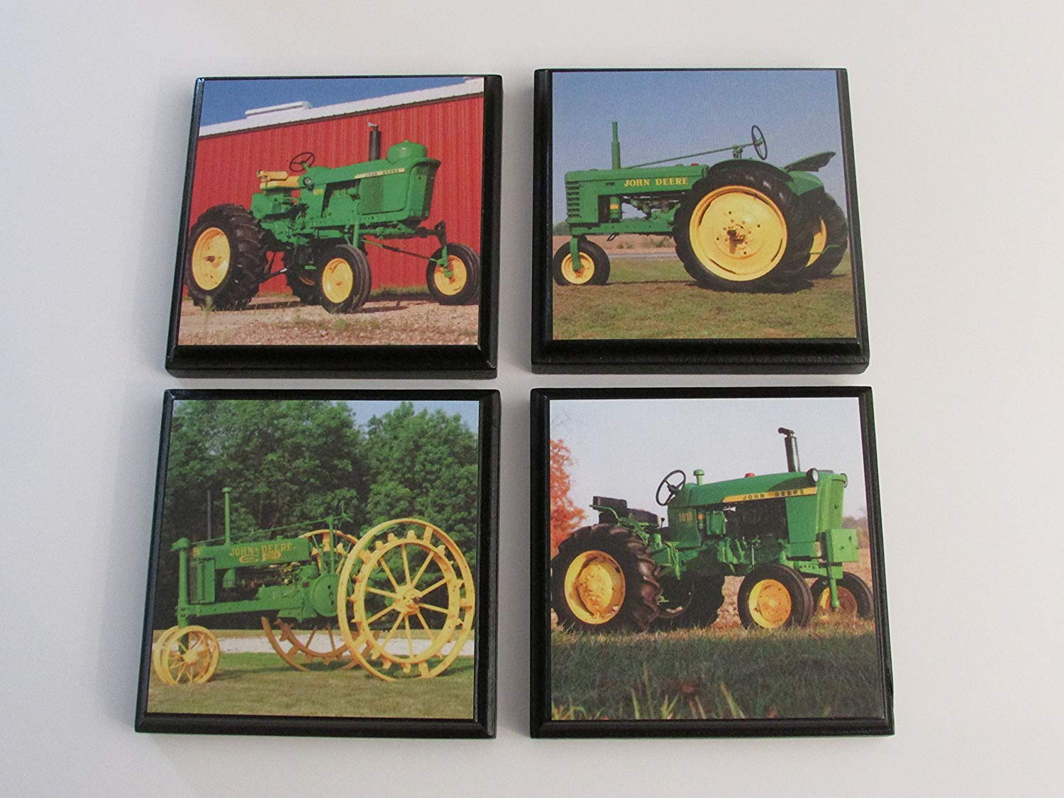 Green Tractor John Deere Room Wall Plaques - Set of 4 John Deere green tractor boys Room Decor - John Deere Room Sign - John Deere room decor