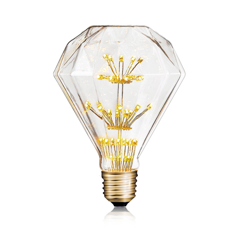 Homestia 3W Decorative LED Firkworks Light Bulb Vintage Edison Style Diamond Shape Starry Night E26 Standard Base