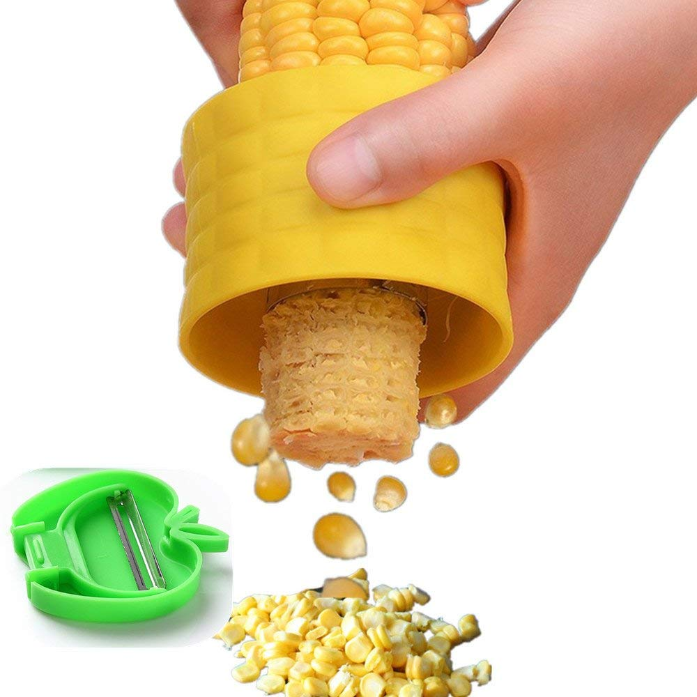 TRRUT New Cob Corn Stripper, Manual Circular Threshing Kernel Cutter Creative Home Kitchen Gadgets Peel Corn Grain,Stripping Tool,With a Mini Folding Fruit Vegetable Peeler