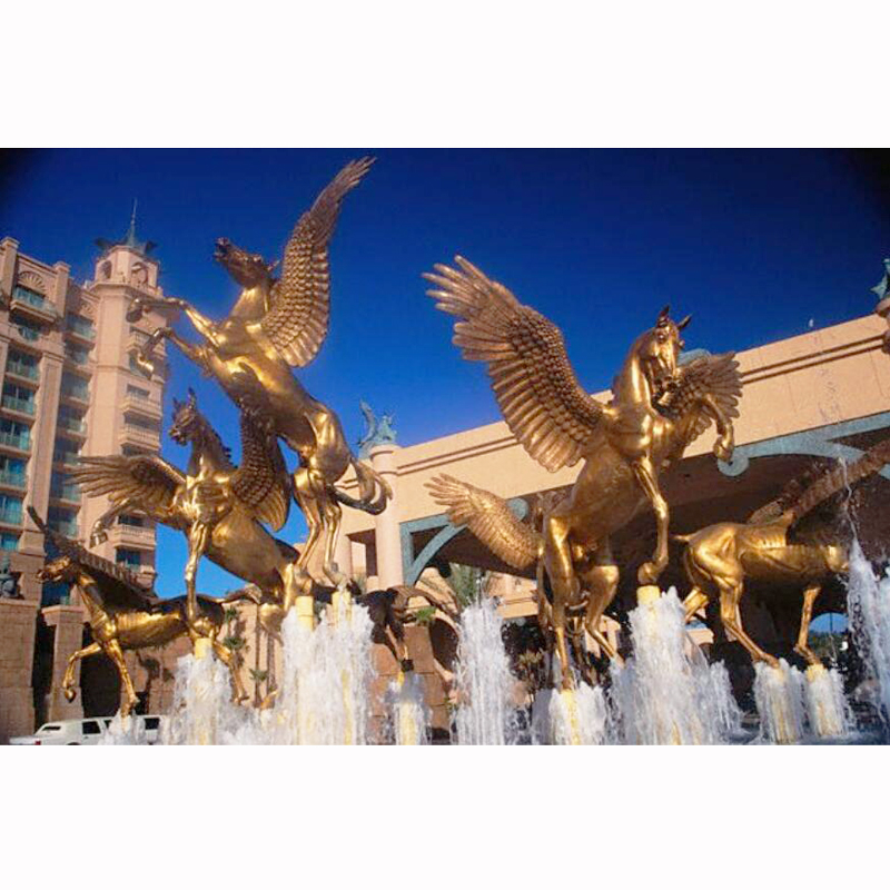 Golden LIfe Size Flying Horse with Wings Sculpture Fountain.jpg