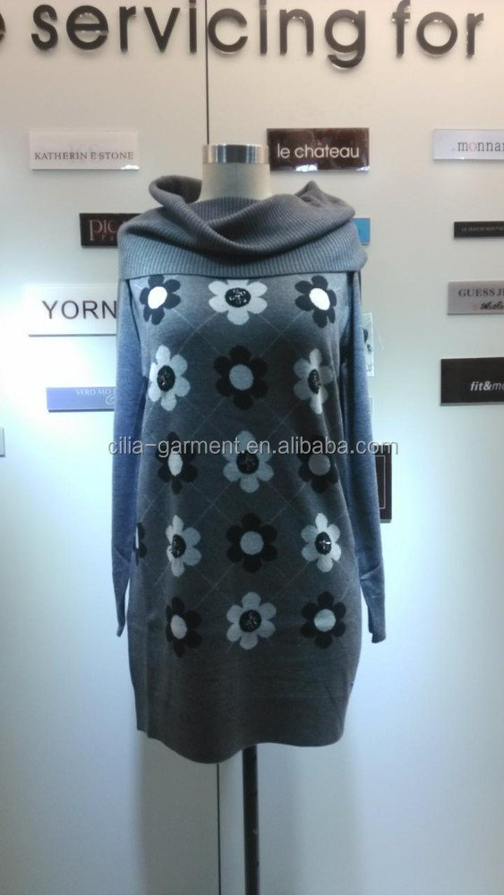 2014 Ladies knitted sweater,pullover with high collar