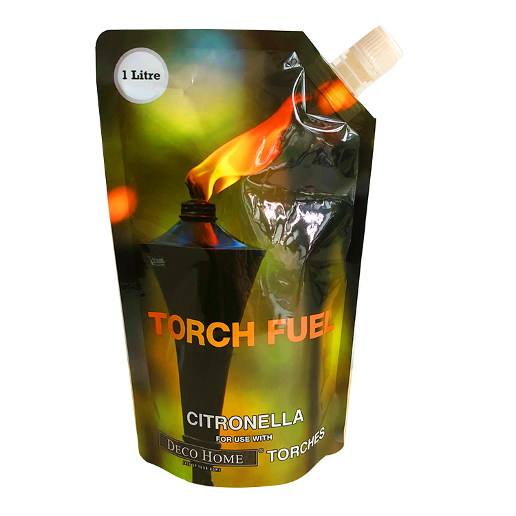 factory supply wholesale custom printed spout stand up pouch for citronella torch fuel