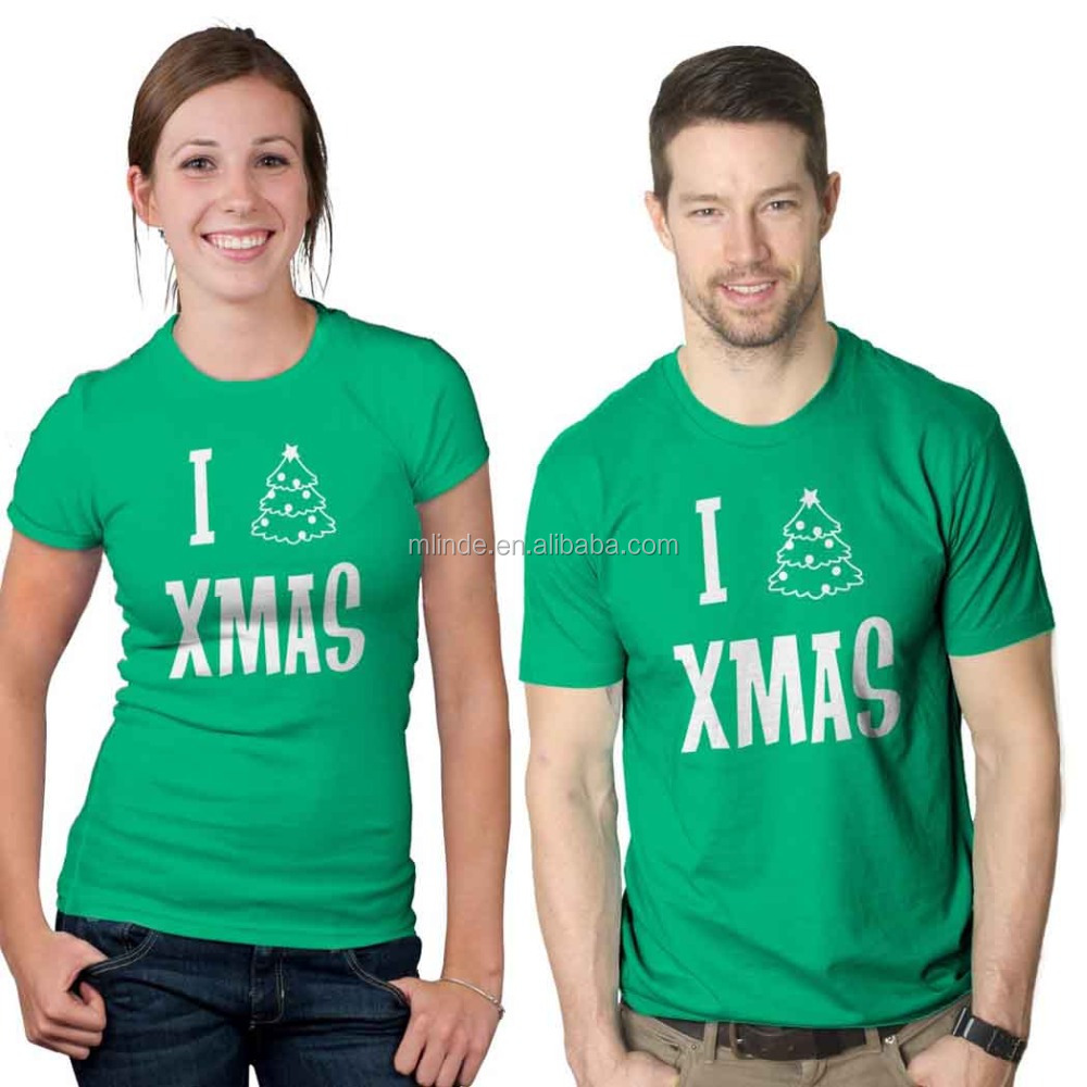 Wholesale Fitness Green Printing Couple Lovers I Love Holiday Tshirt Tee Shirts Men And Woman Unisex Christmas Tree T-Shirt
