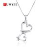 Custom Vintage 925 Sterling Silver Heart Couples Wedding Locket Necklace Pendant