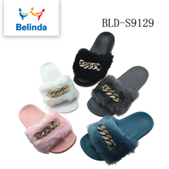 Winter Women Pink Fluffy Slides Shoe Wholesale Fur Slippers