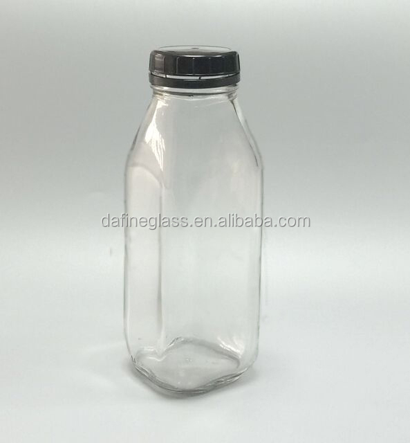 a4ed20441388 16oz 500ml French Square Glass Milk Bottle Beverage Glass Bottle With  Anti-theft Plastic Cap - Buy 500ml Square Glass Bottle,Glass Juice Bottle  With ...
