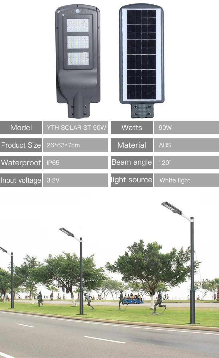 High lumen IP66 waterproof outdoor 30w 50w 100w 150w integrated all in one solar led panel street light