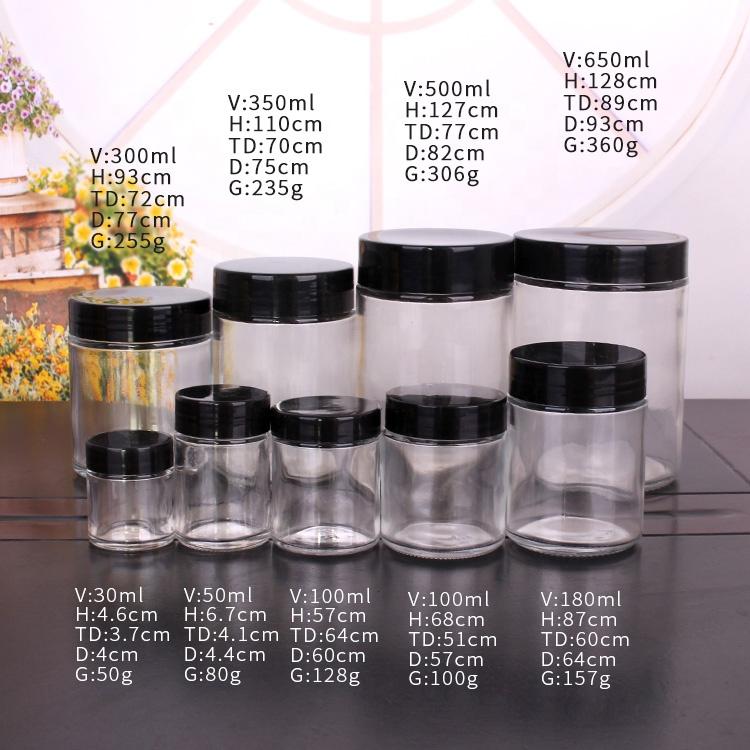 1oz 3oz 6 oz 12 oz 16oz 26oz Glass Jar with Lids Food Storage Jar
