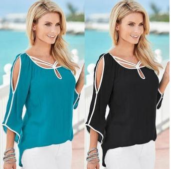 New European women tops batwing sleeve patchwork ladies t-shirt
