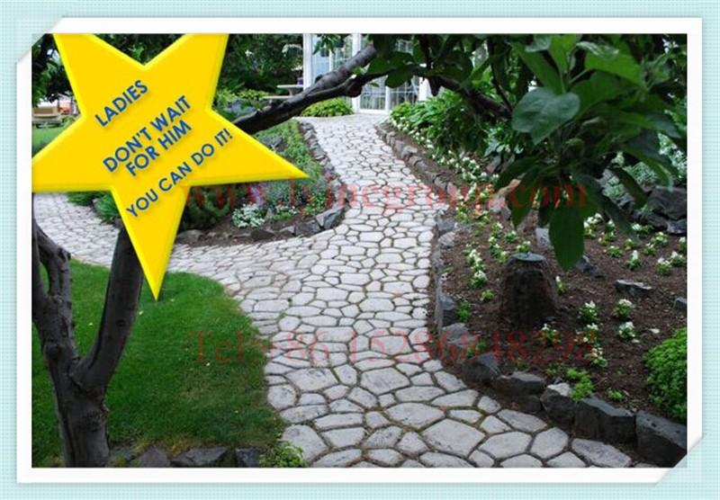 Garden Leaf Blocks : Diy plastic random paving mould for garden block