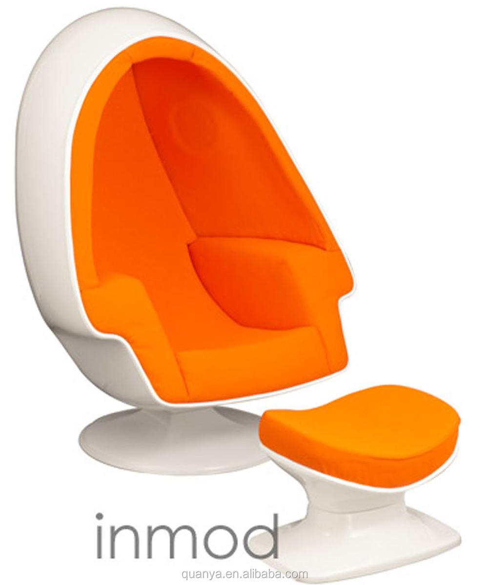 Perfect Comfortable Egg Pod Chair Modern Living Room Chair Fiberglass Leisure Chair  With Ottoman