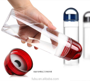 Fruit Infuser Beverage Bottle BPA Free Tritan Plastic, Leak Proof, Colourful Lid and Rubber Grips on Infusion Bottles