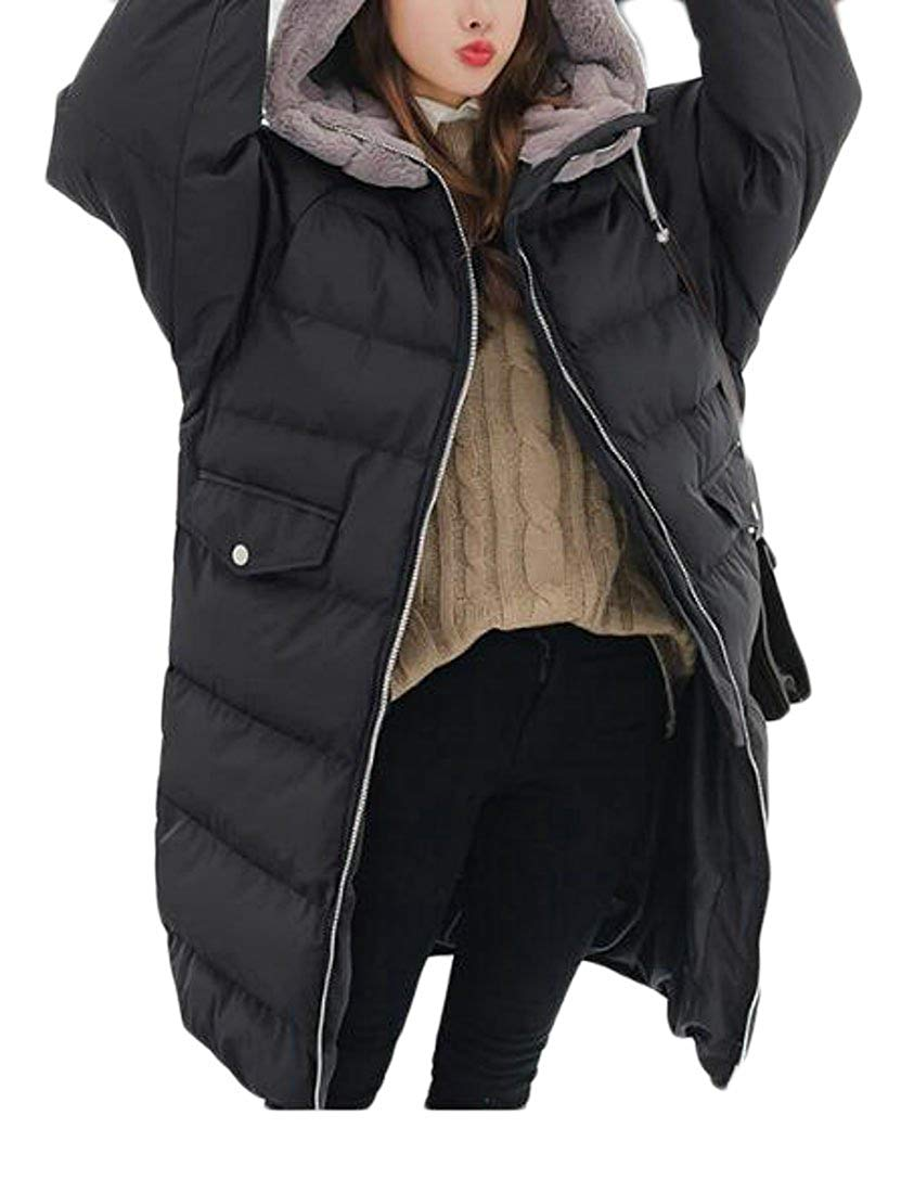 BU2H Men with Faux-Fur Trim Short Warm Thickened Hooded Puffer Coat