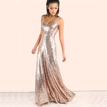 COLROVIE Rose Gold Sequin Party Maxi Dress Sexy Backless Slip Long Summer Dresses  Women Empire Elegant 762672e10e33