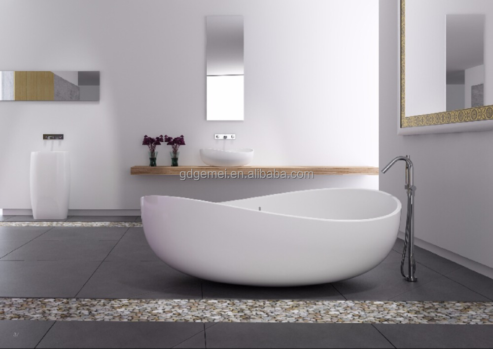Freestanding Bathtub artificial stone round clear bathtub GM-8015