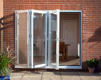 Minimalist white aluminum glass bifolding door