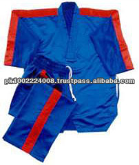 Taekwondo uniform in satin in medium weight satin with 5-cm stripes only. 6-cm elastic waist pant.