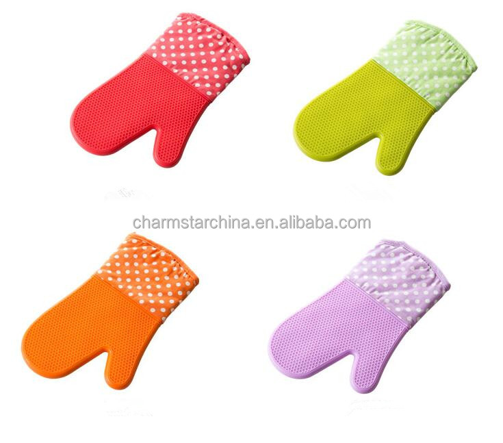 Silicone cotton mitt,heat resistant silicone BBQ glove with cotton inside
