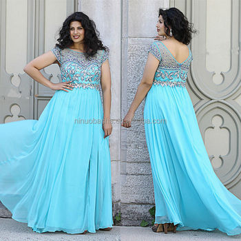 Stunning 2014 Light Blue Long Plus Size Prom Dress Sheer Neck Cap Sleeve Jeweled Zipper Chiffon A Line Evening Gown Nb0901 Buy Plus Size Light Blue