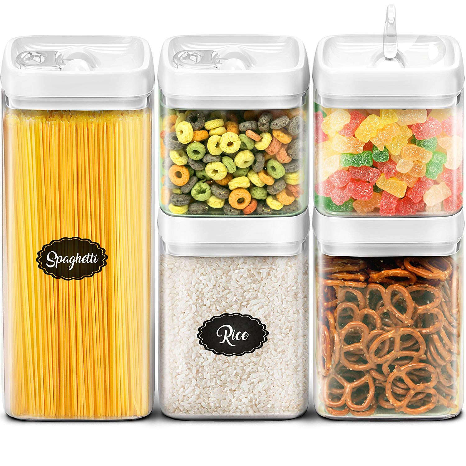 Airtight Storage Containers Set - Best Kitchen Dry Food Containers with Lids - Clear Plastic Food Storage Containers BPA Free - Cereal Storage Containers - 5 Piece Airtight Canister - Extra Capacity