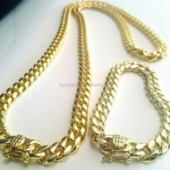 chain gold miami solid yellow cuban mens colossal chains link