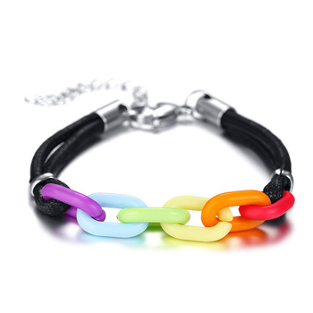 15mm enamel heart charm bracelet rainbow friendship bracelet
