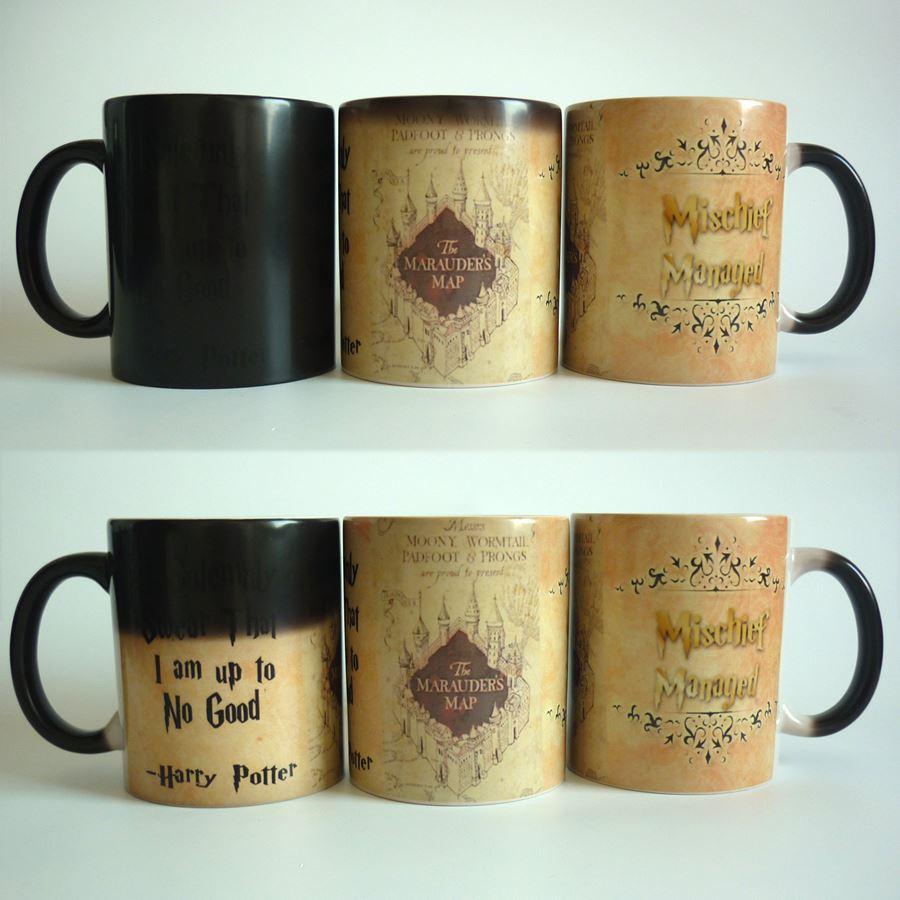 New Arrive! Light Magic mugs Marauders Map mug mischief managed mug Changing color Heat Reactive Coffee cup for friend Gift