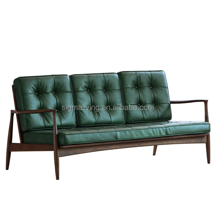Nordic sofa furniture Ash walnut solid wood nordic  leather sofa
