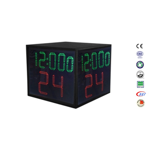 Competition four-sided 24 second shot clock basketball system