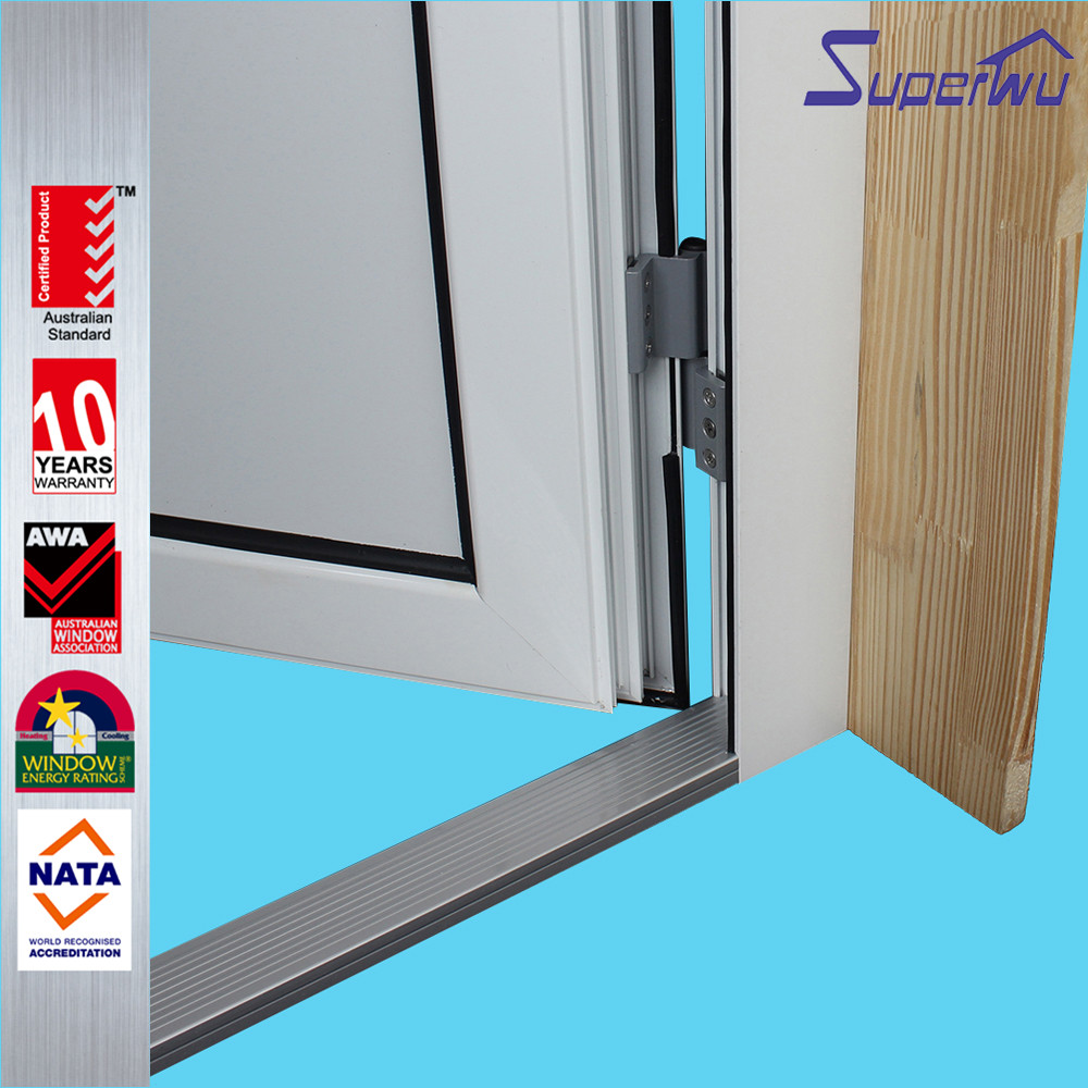 New design half toughened glass half aluminum panel hinged doors aluminum glazed french doors