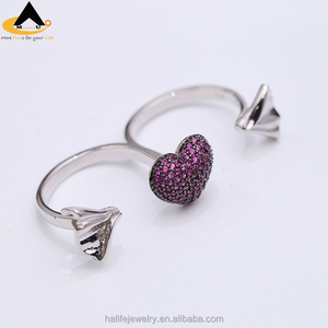 White Gold plated Cubic Zirconia Heart Double Ring,China Fashion Jewelry Manufacturer Supply High Quality Fashion Jewelry Rings