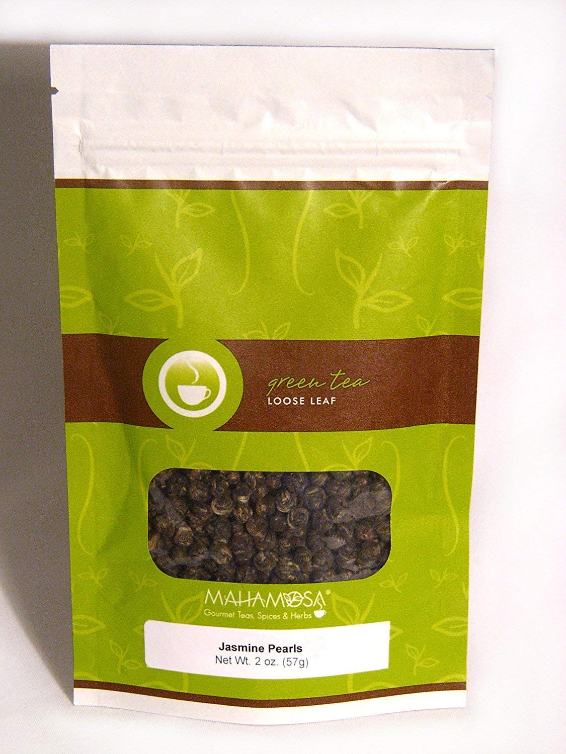 Mahamosa Jasmine Green Tea Loose Leaf (Looseleaf)- Jasmine Pearls 2 oz, Loose Jasmine Tea