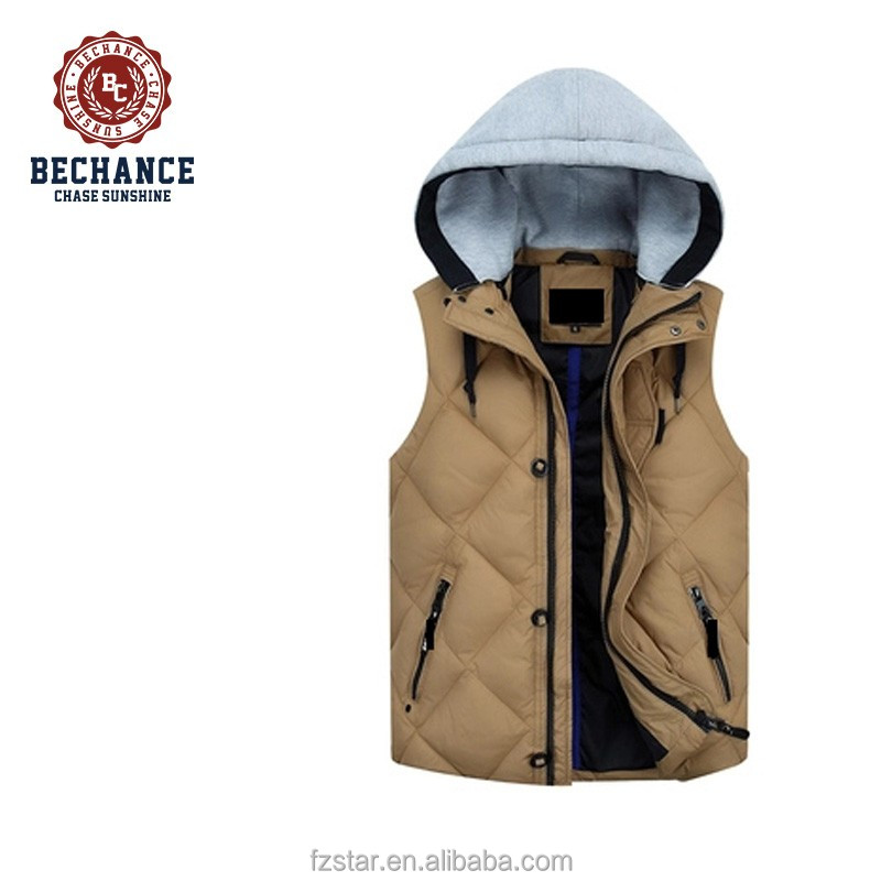 New style autumn man slim thicken warm plus size duck down vest with detachable hood