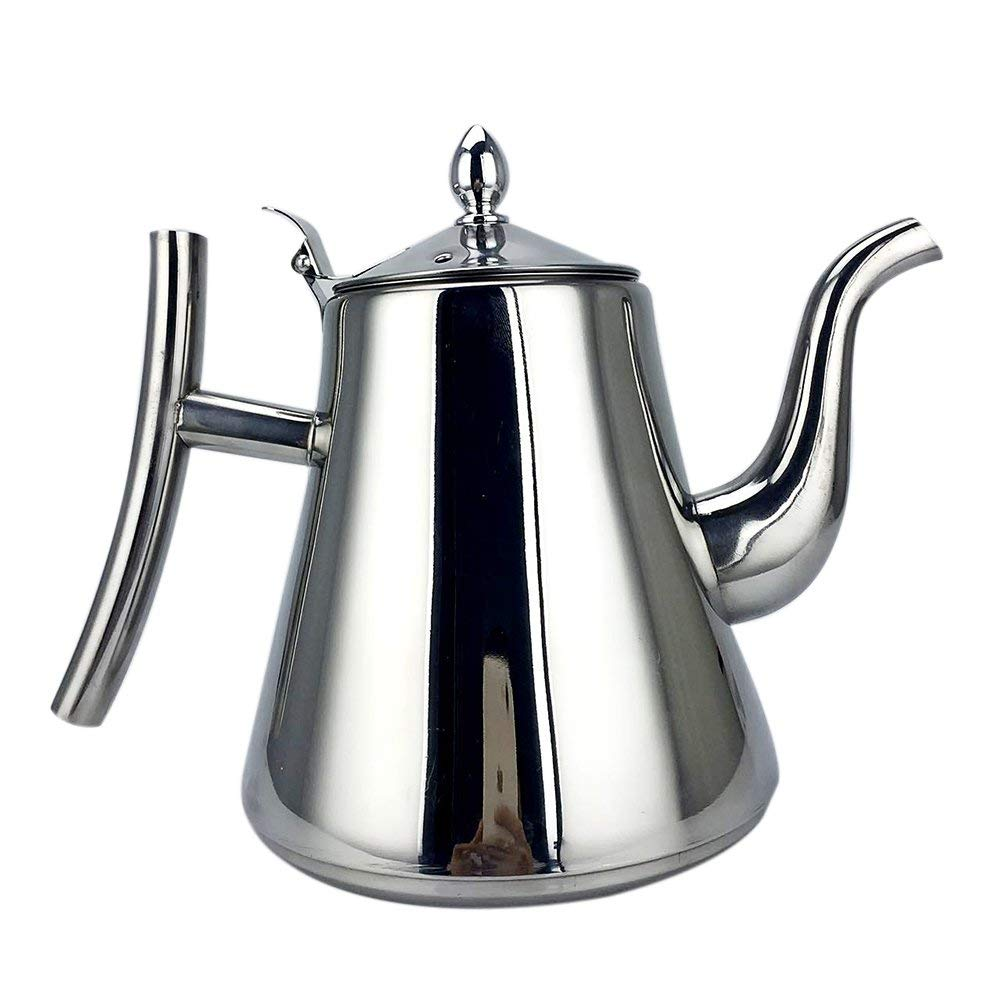 Stainless Steel Tea Pot Kitchen Tea Strainer Kettle Coffee Drip Kettle Filter Tea Pot Fine Mouth Tea Pot 1.5L