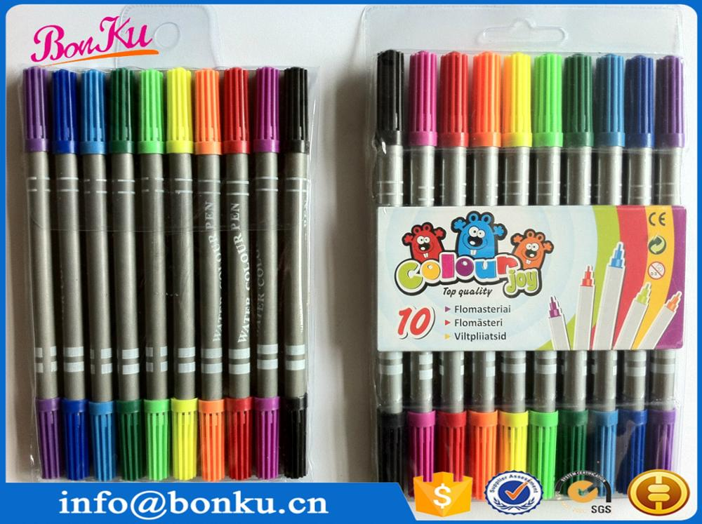 washable ink 10 colors dual tip/head slim water color pen marker