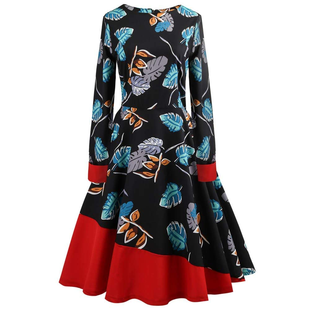 383cafd63a2a96 Women s 50S 60S Vintage Dresses Long Sleeve Floral Print Swing Cocktail  Color