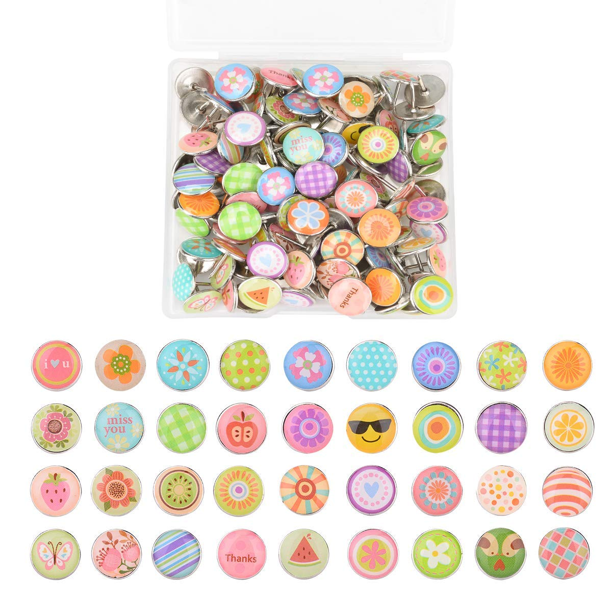 Autrix 120 Pieces Fashion Push Pins Creative Thumb Tacks for Photos Wall, Maps, Bulletin Board or Cork Boards with a Storage Box, 38 Different Patterns