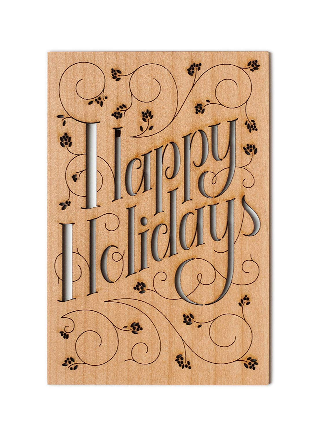 Happy Holidays Vines Laser Cut Wood Christmas Card (Greeting Card / Unique Gift / Happy Holidays / Personalized Available)