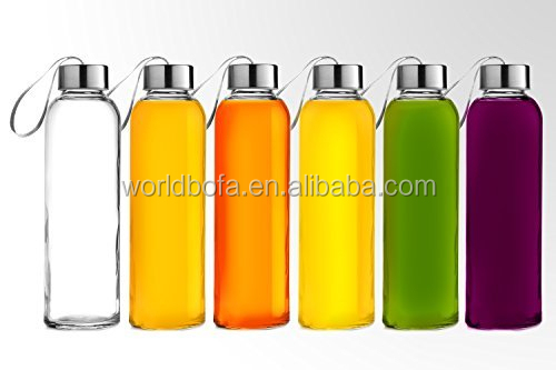 18oz Glass Cup Water Bottle with Protection Sleeve