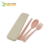 Biodegradable Wheat Straw Reusable Portable Chopsticks Fork Spoon Travel Cutlery Set