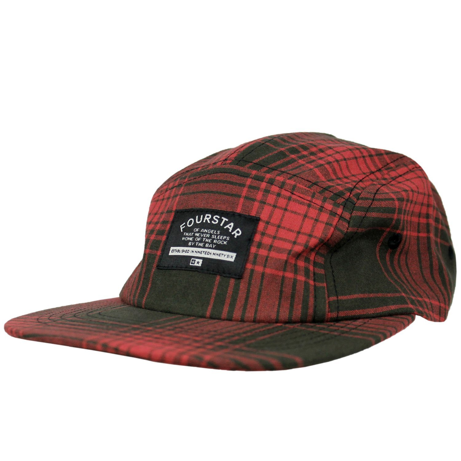 538dbce6b66 Get Quotations · FOURSTAR Skateboard Hat ACID PLAID WASHED RED 5-PANEL STRAP