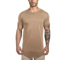 Short sleeve scoop bottom long tail blank plain custom t shirt, t shirts in bulk