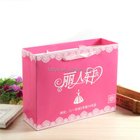 Wholesale Gift Lace Shopping Carry Paper Bags with Cotton Handle