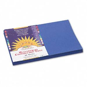 SunWorks Products - SunWorks - Construction Paper, 58 lbs., 12 x 18, Dark Blue, 50 Sheets/Pack - Sold As 1 Pack - Brightly-colored, high-strength, heavyweight construction paper with long, strong fibers that cut clean and fold evenly without cracking. - All purpose, high bulk, smooth textured. -