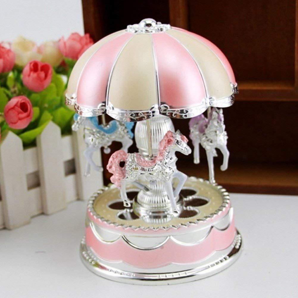 yodaliy Creative Wonderful Gift,Romantic Merry-Go-Round Music Box Flash Light Baby's Room Lamp Bedside Light Home Decor Carousel Kid Gift Birthday (Pink Purple)(Pink)