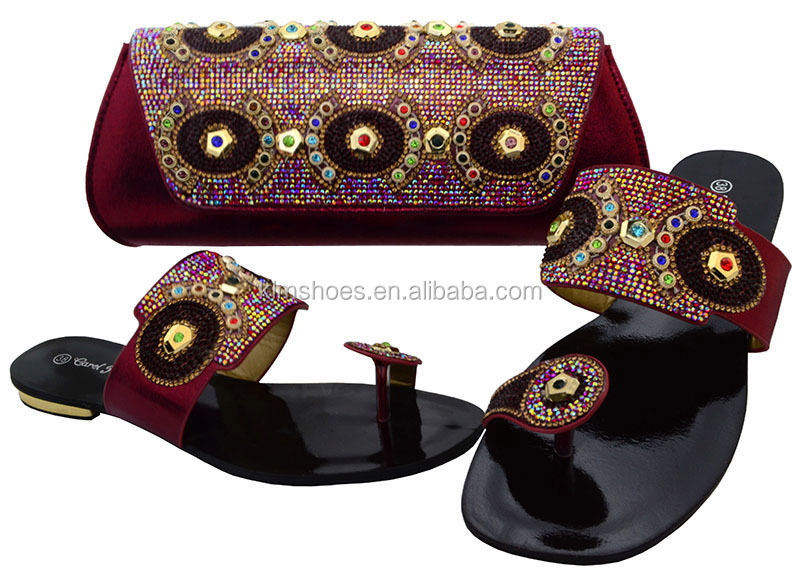 African Shoes Match And Party New Bag Color Slippers Arrival Italian Wine 37 Shoes Wedding Set Women BCH Shoes Set bag With 5w0A7qv