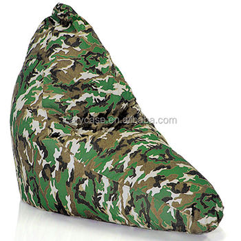 Eggplant Shape L Bean Bag Chair, Camo Fashion Beanbag Seat